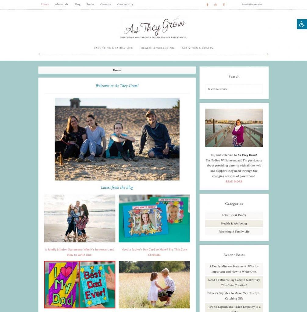 screenshot of as-they-grow.com blog